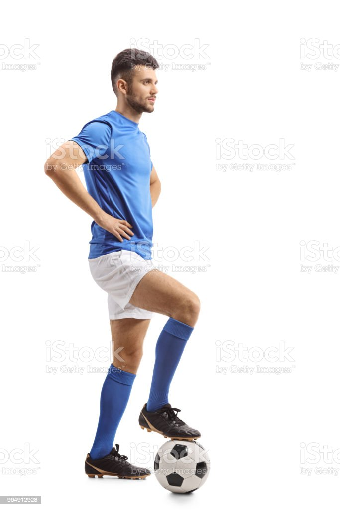 Soccer player with a football waiting in line royalty-free stock photo