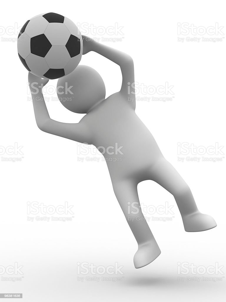 soccer player with ball on white background. Isolated 3D image royalty-free stock photo