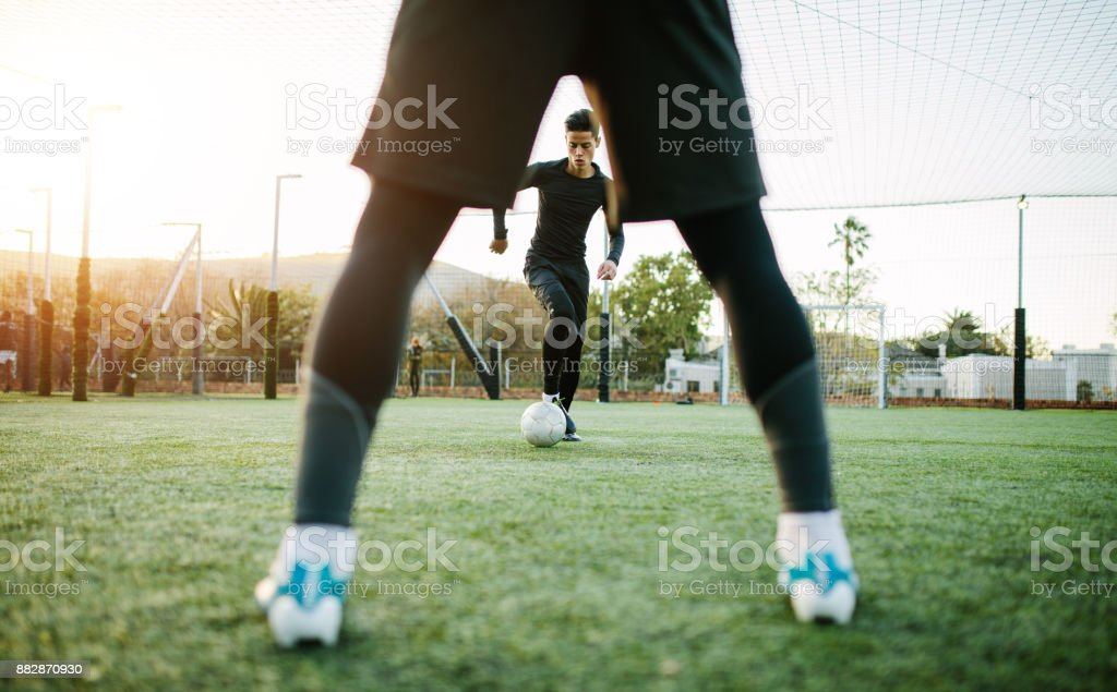 Soccer players during team practice royalty-free stock photo