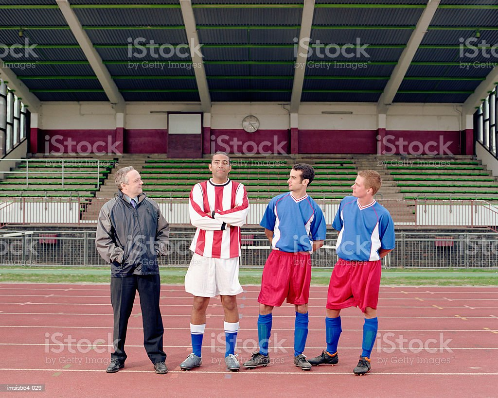 Soccer players in stadium royalty-free 스톡 사진
