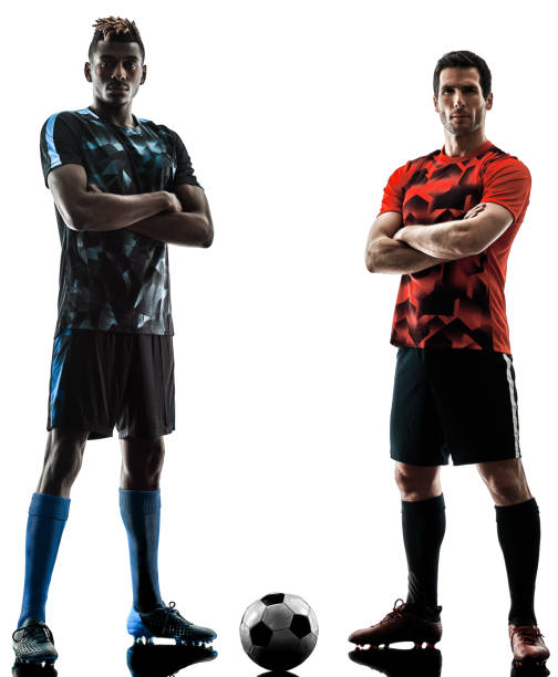 soccer players men isolated silhouette white background - soccer player stock photos and pictures