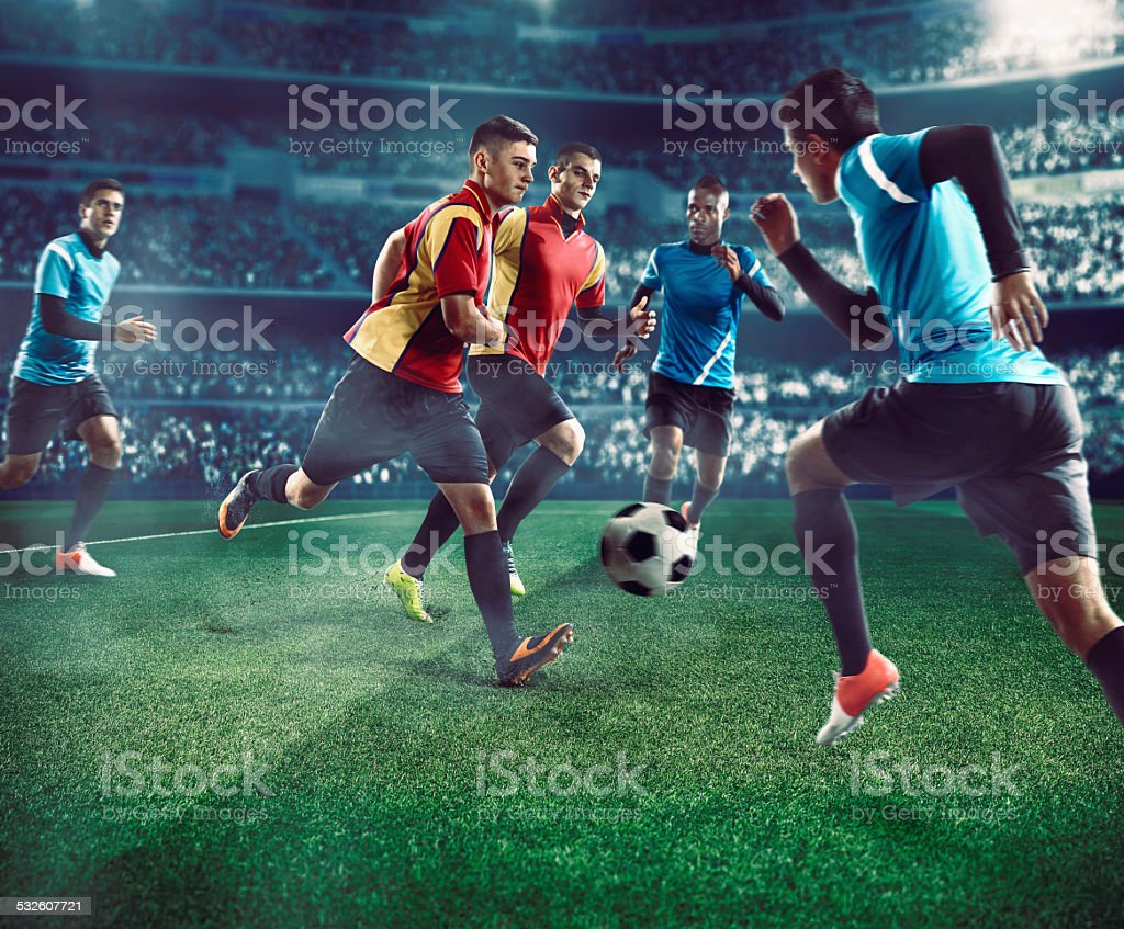 Soccer players stock photo