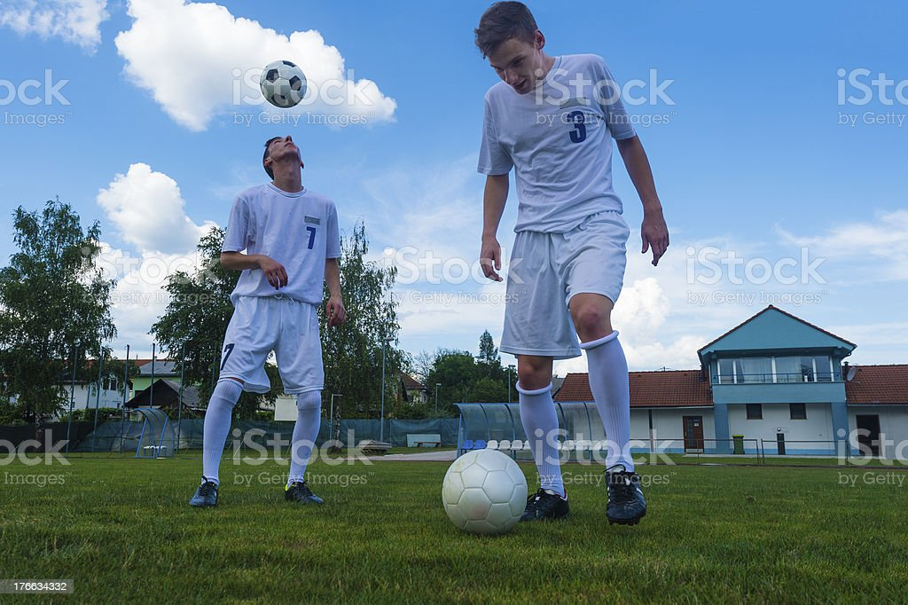 Soccer players practicing royalty-free stock photo