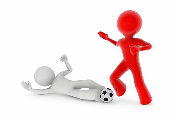 Los jugadores de fútbol; DESLIZAR abordar - foto de stock