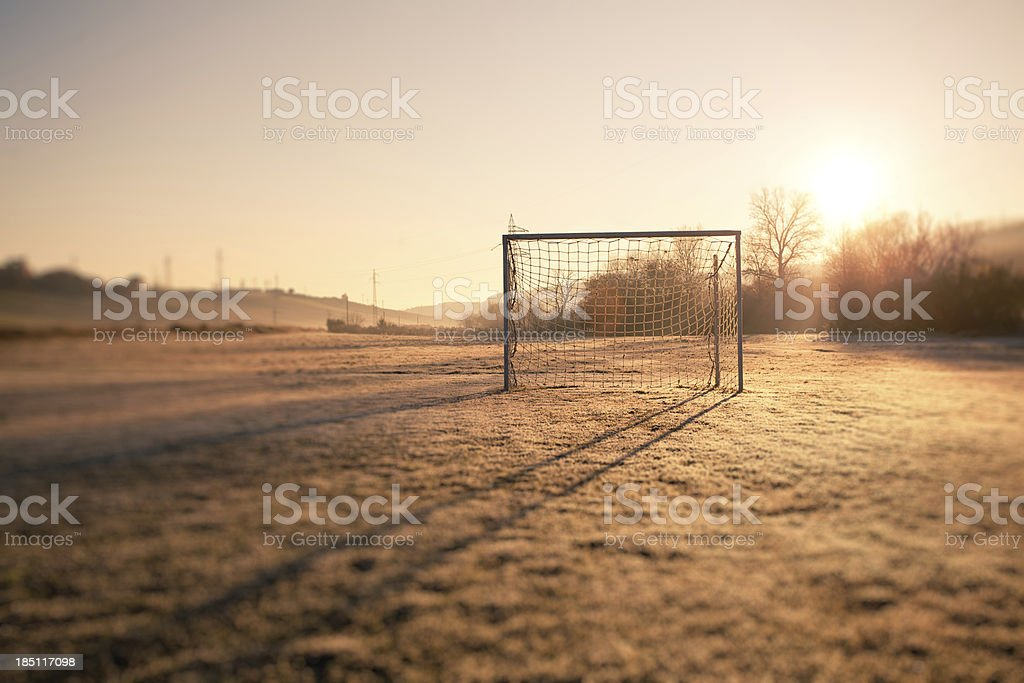 Soccer Playing Field in Countryside at Morning royalty-free stock photo