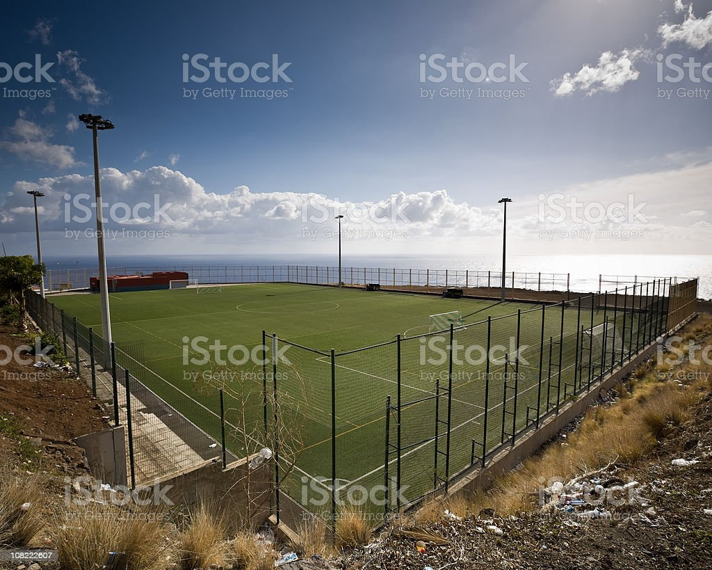Soccer Playing Field Overlooking Atlantic Ocean royalty-free stock photo