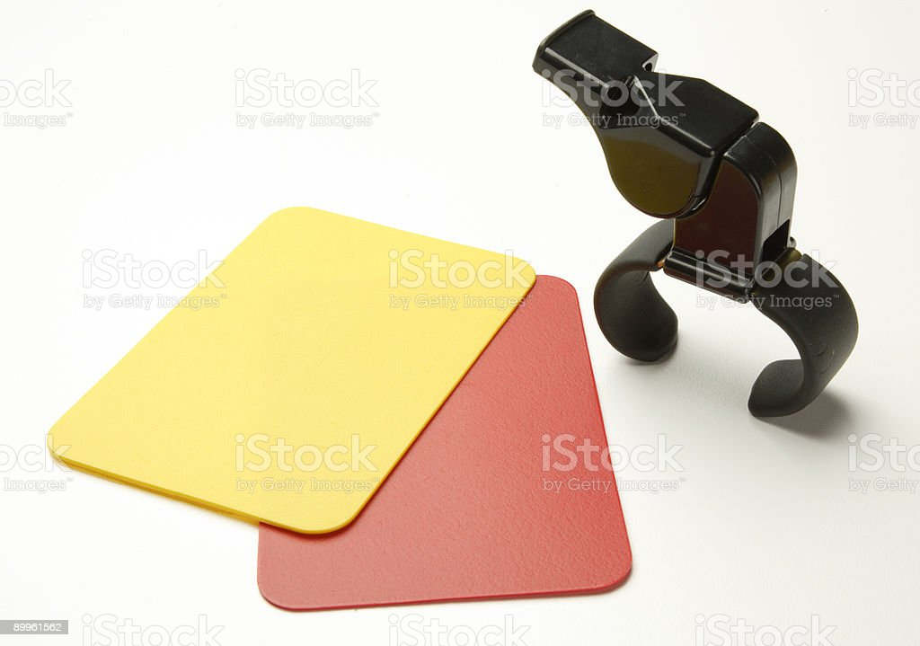 Soccer red and yellow cards royalty-free stock photo