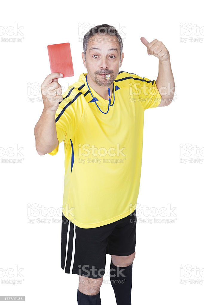 Soccer Referee Showing Red Card stock photo