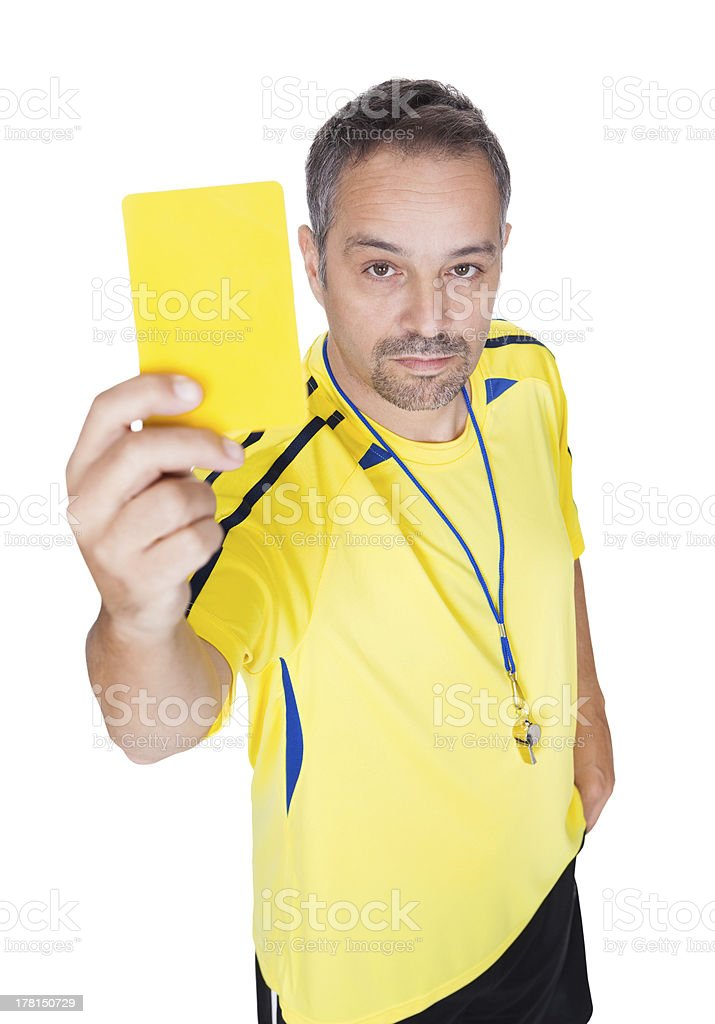 Soccer Referee Showing Yellow Card stock photo