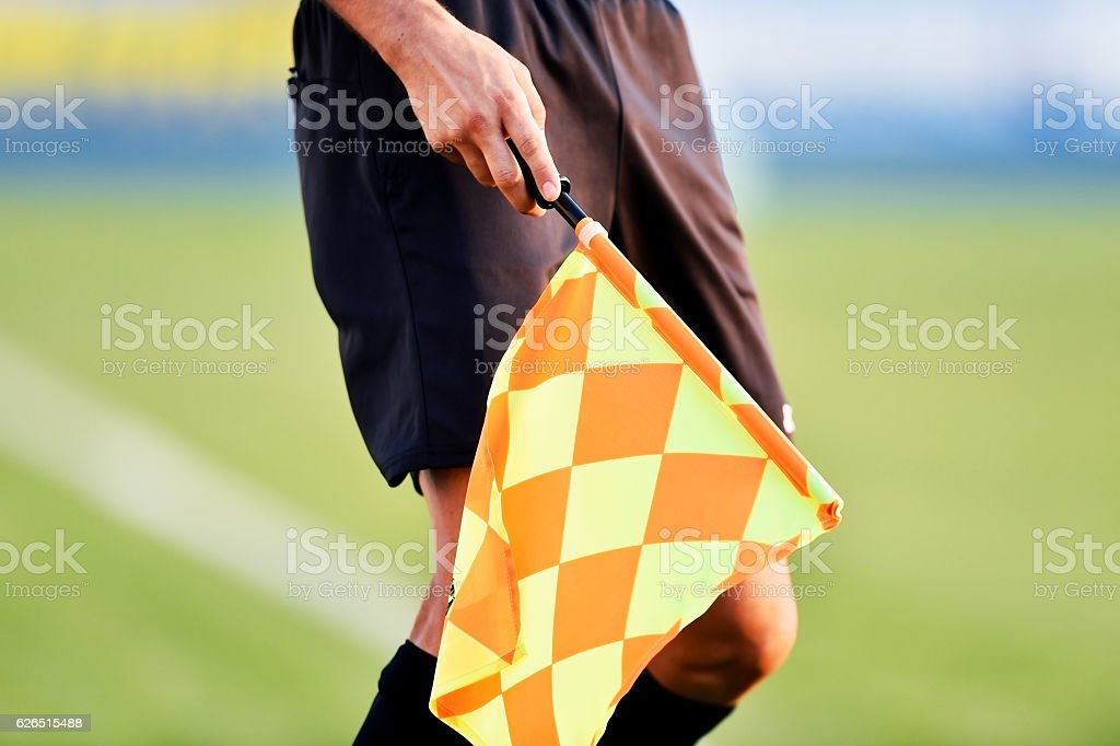 Soccer referee with offside flag - Photo