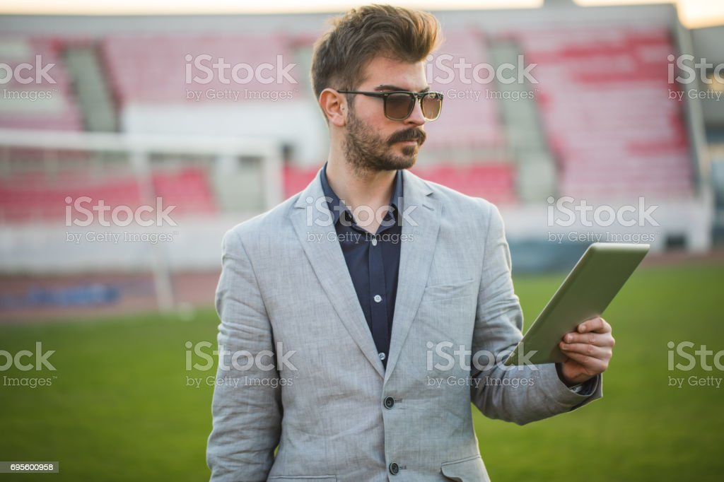 Soccer scout stock photo