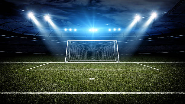 Soccer stadium and goal post – Foto
