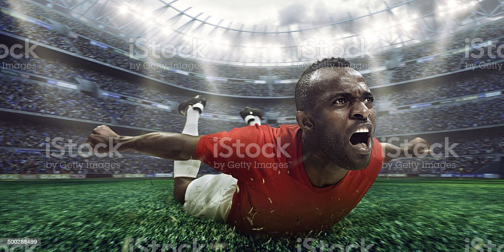 Soccer stadium and soccer player happy after victory stock photo