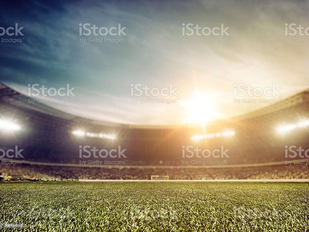Soccer stadium background wide angle stock photo