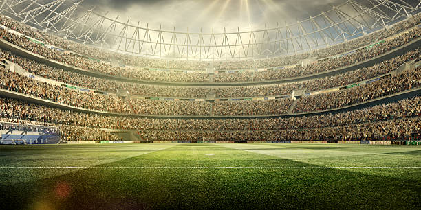 soccer stadium background wide angle - soccer field stock photos and pictures