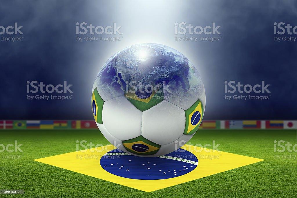 Soccer stadium, ball, globe, flag of Brazil stock photo