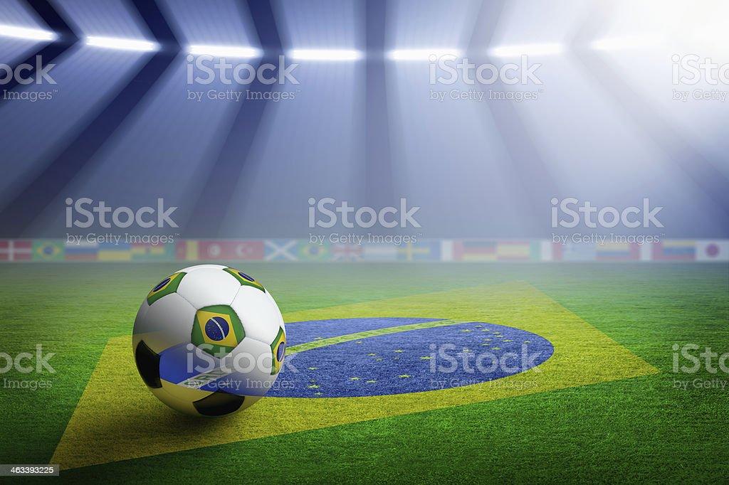 Soccer stadium, flag of Brazil royalty-free stock photo