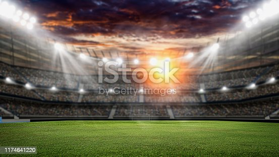 istock Soccer stadium, green grass and night sky. 3d renering 1174641220