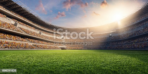 3D soccer stadium with green grass and bleachers full of people. Grass, lights stadium, and all other elements are made in 3D.