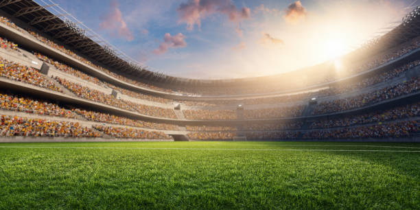 3D soccer stadium stock photo