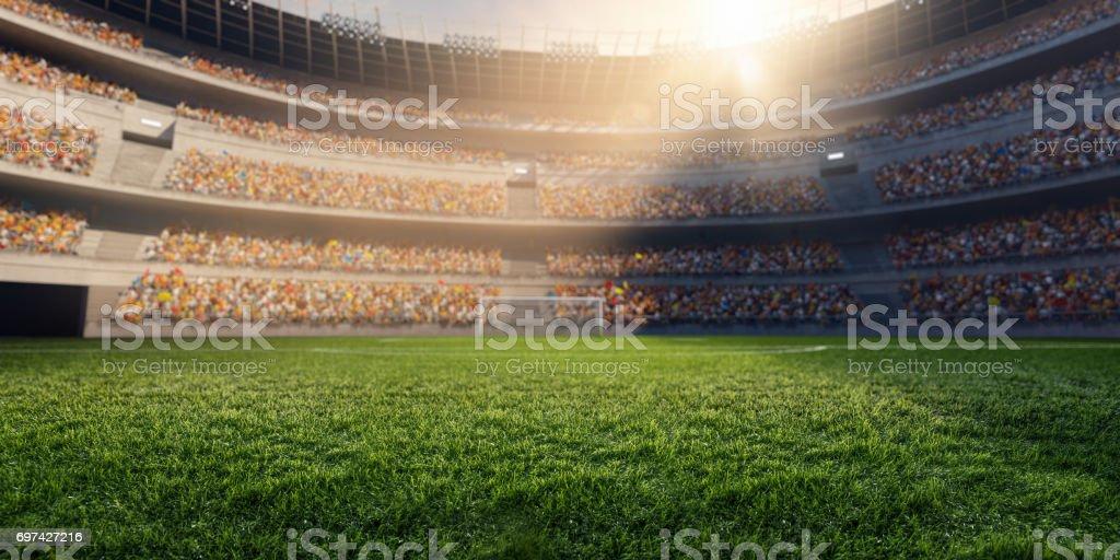 3D soccer stadium stock photo