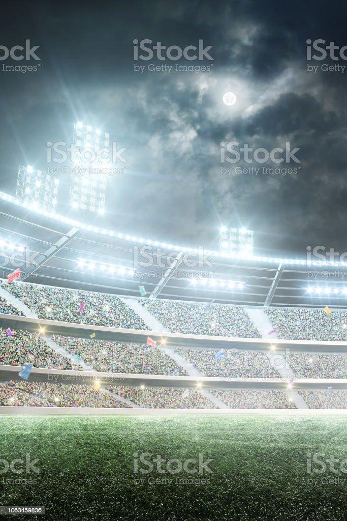 Soccer stadium. Professional sport arena. Night stadium under the...