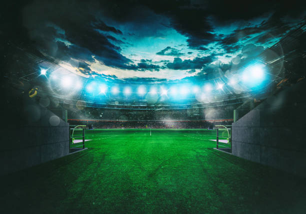 Soccer stadium seen by the exit of the locker room tunnel stock photo