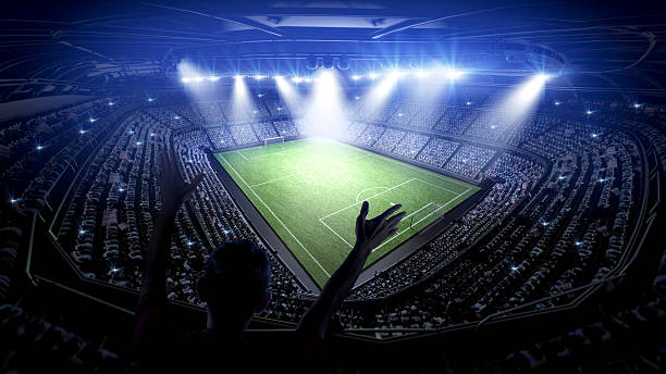 soccer stadium with fans - sports event stock photos and pictures