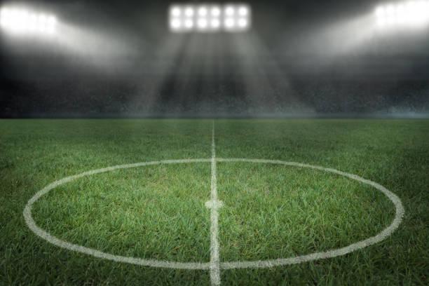 Soccer stadium with floodlight stock photo