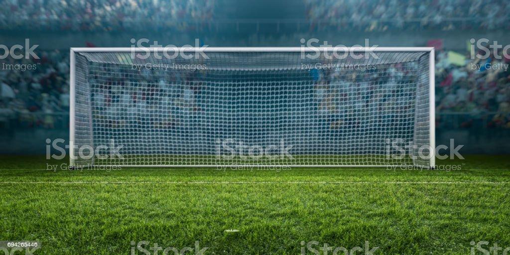 Fußballstadion mit Fußball Tor – Foto