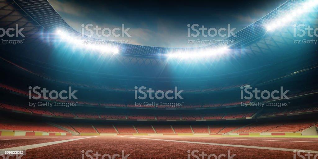 soccer stadium with running track stock photo
