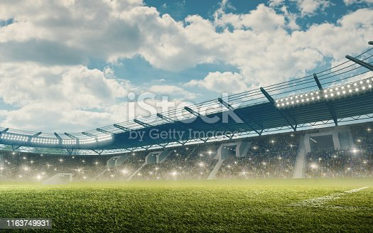 Professional soccer stadium with green grass and tribunes