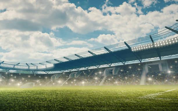 stade de football avec des tribunes - football photos et images de collection