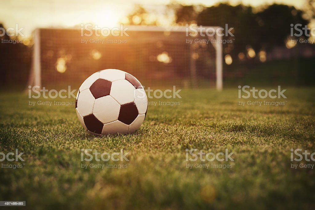 Soccer sunset stock photo