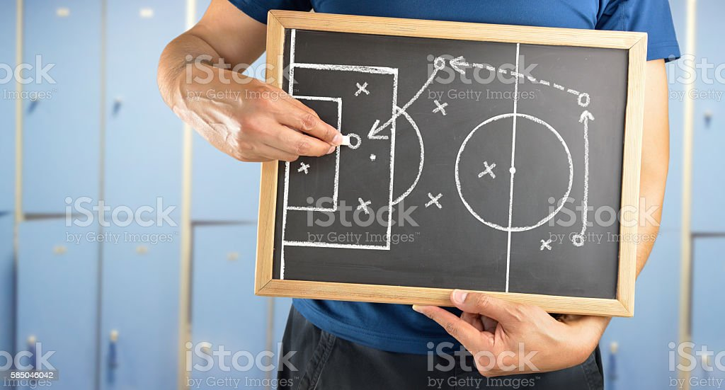 soccer tactics drawing on chalkboard stock photo