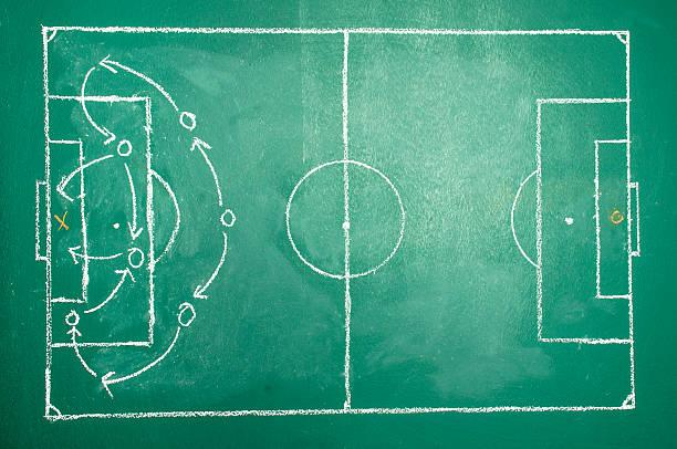 Soccer tactics on board stock photo