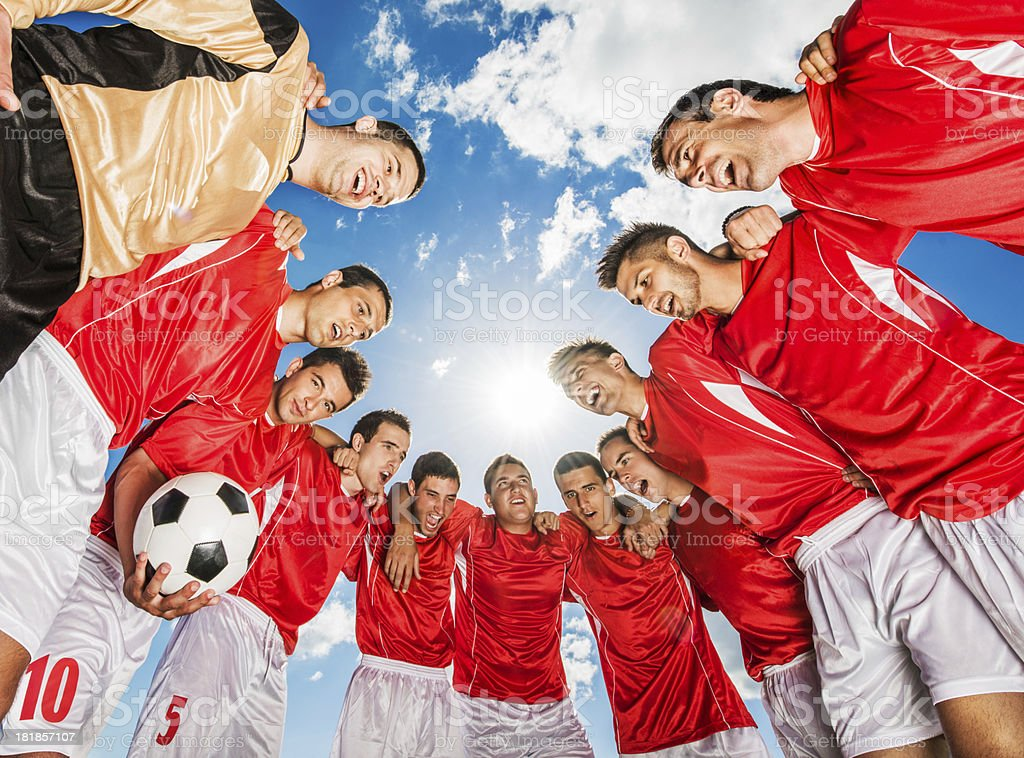 Soccer team against blue sky. royalty-free stock photo