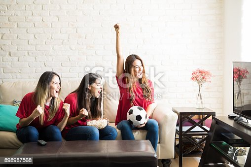 istock Soccer team just scored a goal 898987568