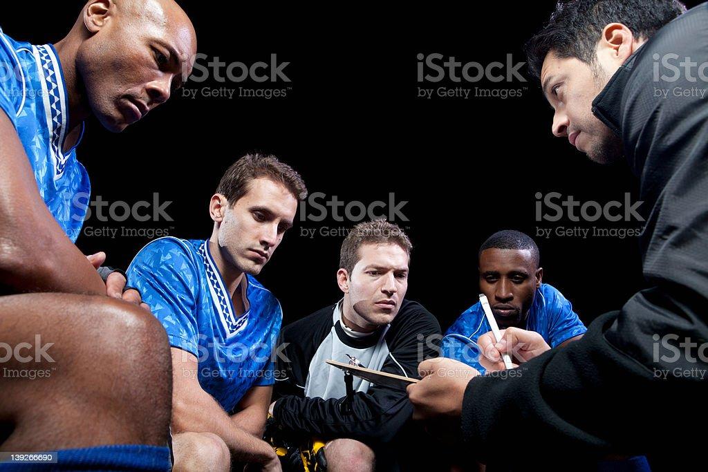 Fußball team Planung Spiel mit Trainer – Foto