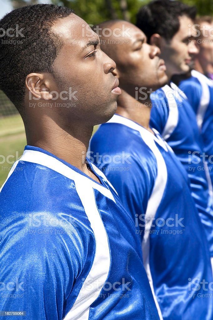 Soccer Team Players Lined Up Before Game royalty-free stock photo