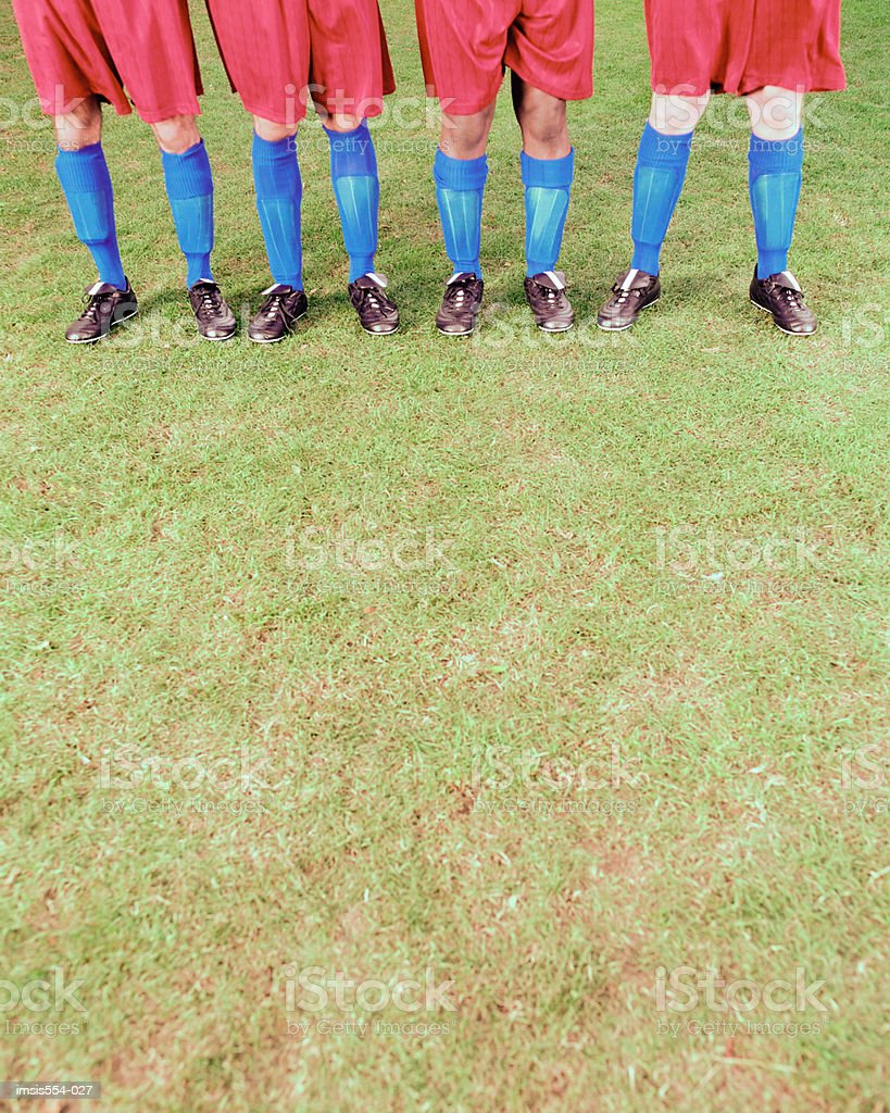Soccer team standing in row 免版稅 stock photo