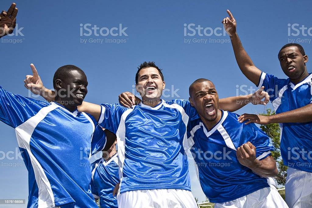 Soccer Team Together Celebrating Their Win royalty-free stock photo