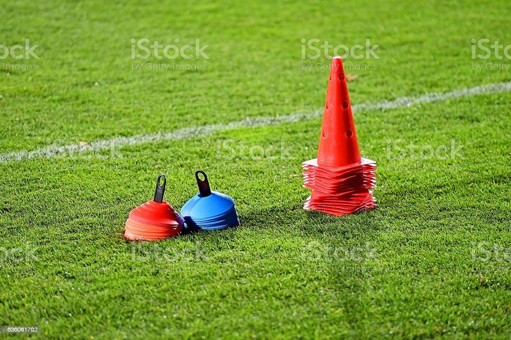 Soccer training cones stock photo