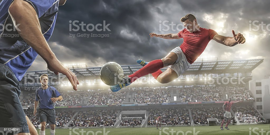 Soccer Volley Kick stock photo