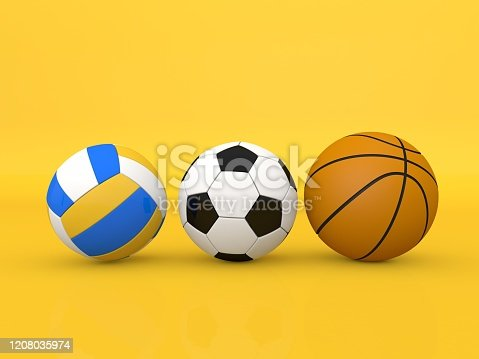 Soccer volleyball and basketballs on a yellow background. 3d render illustration.