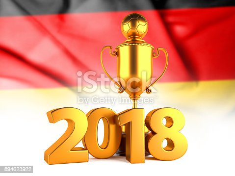 istock Soccer Winner Gold Trophy with 2018 text and Flag of Germany. 3D Render 894623922