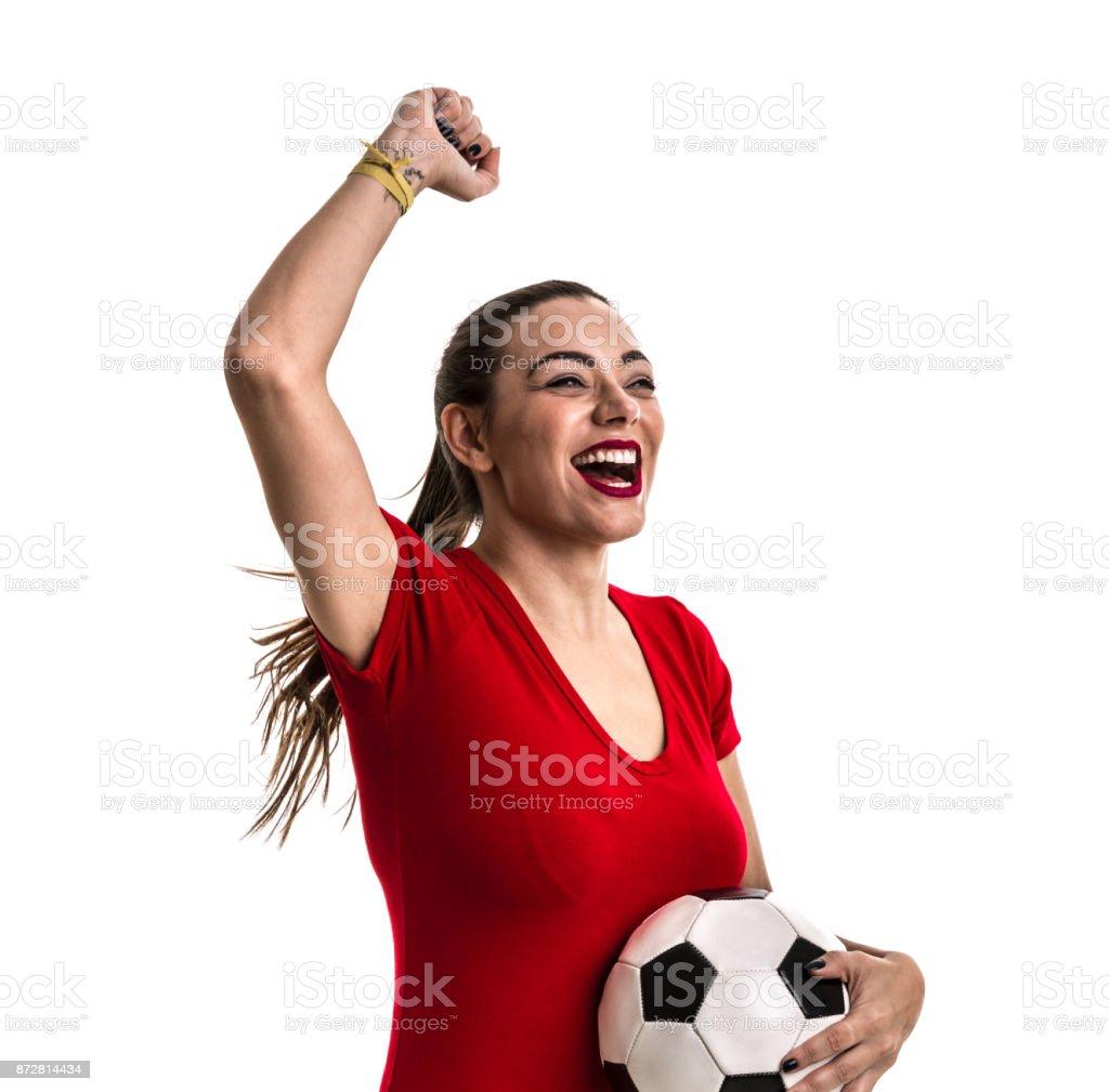 Femme de foot sur l'uniforme rouge isolé sur fond blanc - Photo