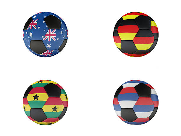 soccer world cup group d balls with flags - group d stock photos and pictures