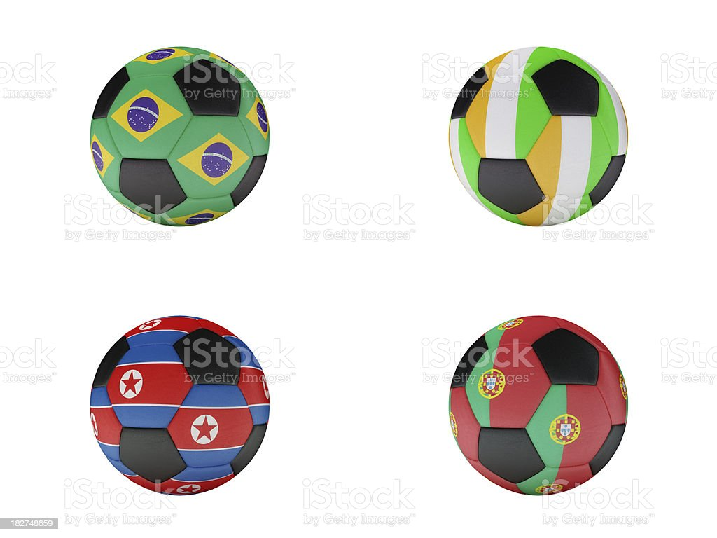 Soccer World Cup Group G balls with flags royalty-free stock photo