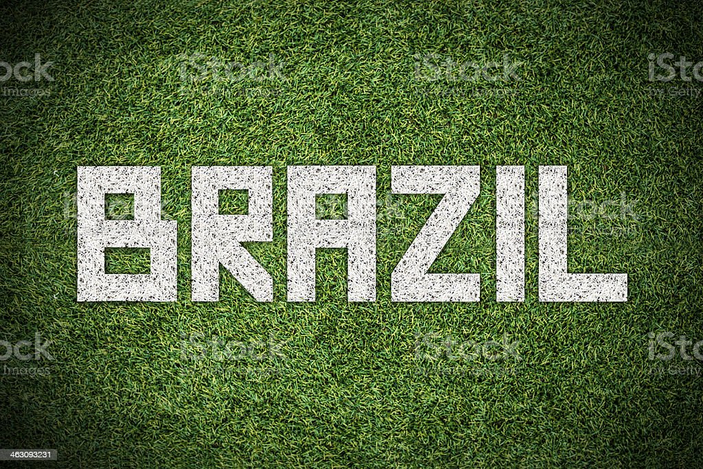 Soccer written on playing field royalty-free stock photo